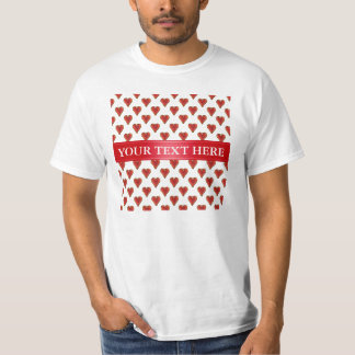 Funny Heart Pattern gold red + your backgr. & text T-Shirt