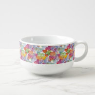 Funny Heart Pattern I pastel   your text / image Soup Bowl With Handle
