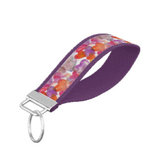 Funny Heart Pattern IV - watercolor painting Wrist Keychain