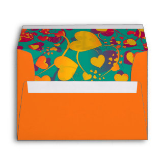 Funny Heart Pattern IX - green red yellow Envelope