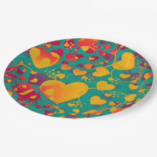 Funny Heart Pattern IX - green red yellow Paper Plate