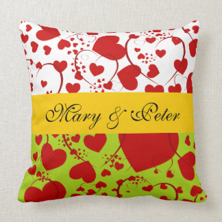 Funny Heart Pattern V + your backg. & text Throw Pillow