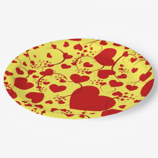 Funny Heart Pattern V + your background color Paper Plate