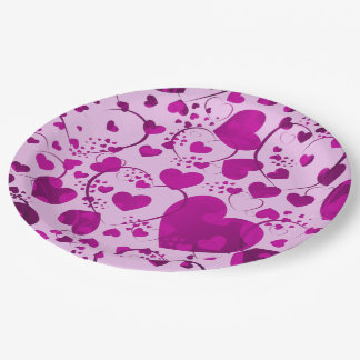 Funny Heart Pattern VI + your background color Paper Plate