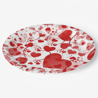 Funny Heart Pattern VII - red white + your idea Paper Plate