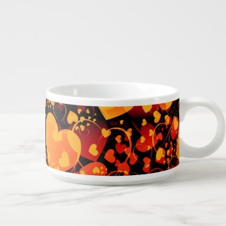 Funny Heart Pattern VIII - black red yellow Bowl