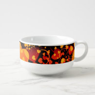 Funny Heart Pattern VIII - black red yellow Soup Bowl With Handle