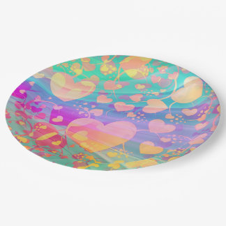 Funny Heart Pattern XI - pastel colored Paper Plate