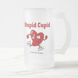 Funny Heart Running From Cupid 16 Oz Frosted Glass Beer Mug