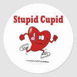 Funny Heart Running From Cupid Classic Round Sticker