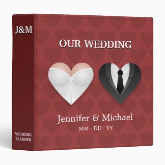 Funny Hearts Bride Groom Wedding Planner Binder