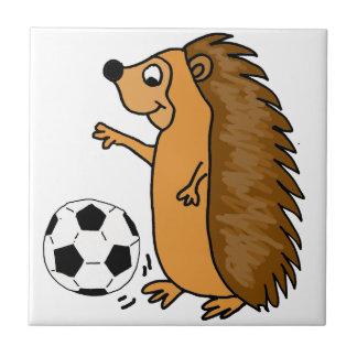 Funny Hedgehog Playing Soccer or Football Cartoon Tile