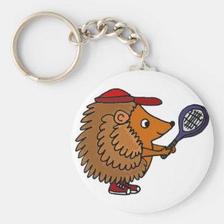 Funny Hedgehog with Blue Tennis Racket Keychain