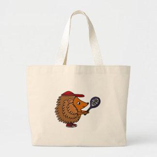 Funny Hedgehog with Blue Tennis Racket Large Tote Bag