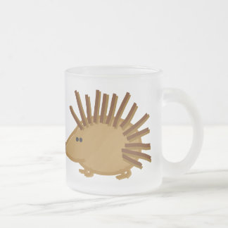 Funny Hedgehogs on White Frosted Glass Coffee Mug