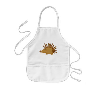 Funny Hedgehogs on White Kids' Apron