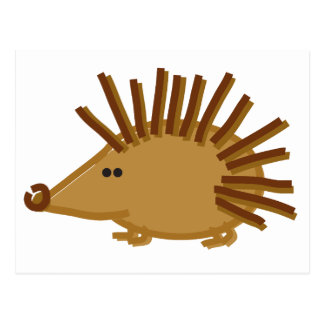 Funny Hedgehogs on White Postcard
