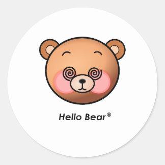 Funny Hello Bear dazzling Classic Round Sticker