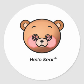 Funny Hello Bear dazzling Round Sticker
