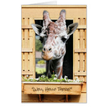 Funny Hello Giraffe in Window Thinking of You Card
