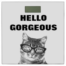 Funny Hello Gorgeous bathroom scale with cute cat at Zazzle