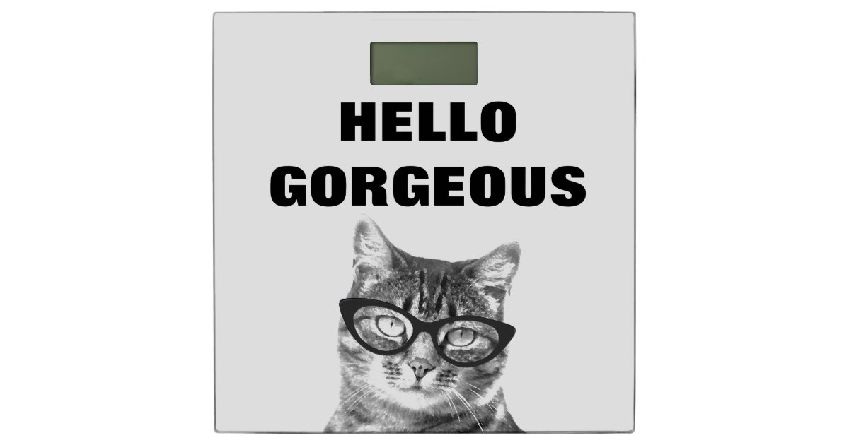 Funny Hello Gorgeous Bathroom Scale With Cute Cat Zazzle Com
