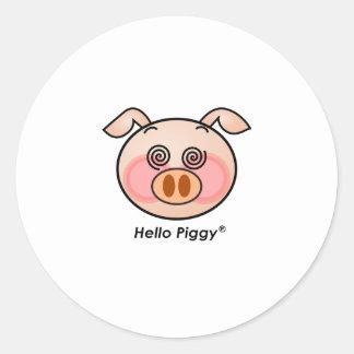Funny Hello Piggy dazzling Classic Round Sticker