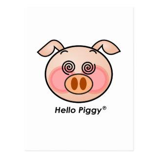 Funny Hello Piggy dazzling Postcard