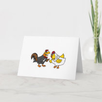 Funny Hen Bride and Rooster Groom Wedding Card