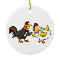 Funny Hen Bride and Rooster Groom Wedding Ceramic Ornament