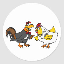 Funny Hen Bride and Rooster Groom Wedding Classic Round Sticker