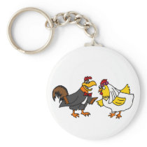 Funny Hen Bride and Rooster Groom Wedding Keychain