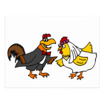 Funny Hen Bride and Rooster Groom Wedding Postcard