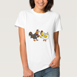 Funny Hen Bride and Rooster Groom Wedding T-Shirt