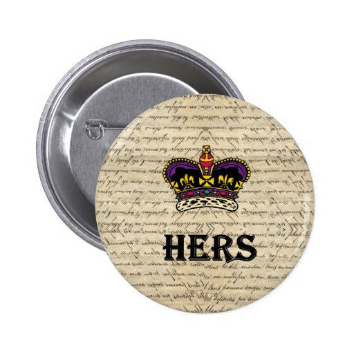 Funny hers text & crown buttons