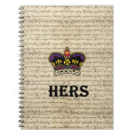 Funny hers text & crown spiral notebooks