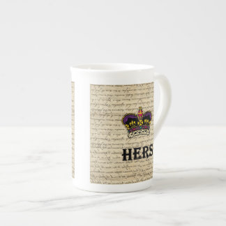 Funny hers text & crown tea cup