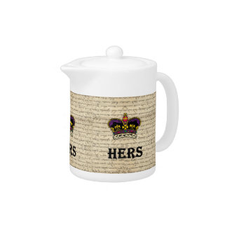 Funny hers text & crown teapot