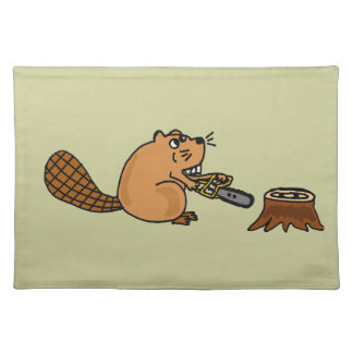 Funny High Tech Beaver with Chainsaw Cloth Placemat