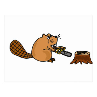 Funny High Tech Beaver with Chainsaw Postcard