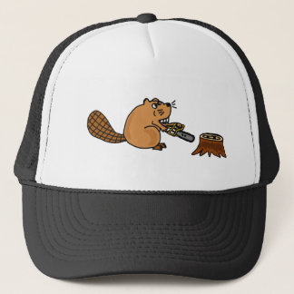 Funny High Tech Beaver with Chainsaw Trucker Hat
