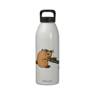 Funny High Tech Beaver with Chainsaw Drinking Bottle