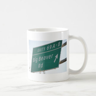 Funny HIghway Sign Big Beaver Road Exit 69 Classic White Coffee Mug
