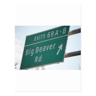 Funny HIghway Sign Big Beaver Road Exit 69 Postcards