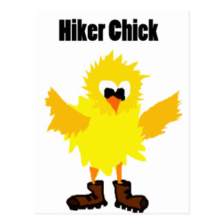 Funny Hiker Chick Cartoon Postcard
