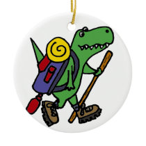 Funny Hiking Green T-Rex Dinosaur Ceramic Ornament