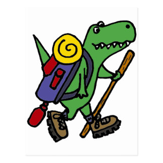 Funny Hiking Green T-Rex Dinosaur Postcard