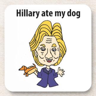 Funny Hillary Ate my Dog Political Cartoon Drink Coaster