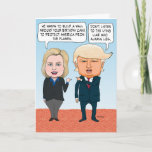 "Funny Hillary Clinton and Donald Trump Birthday Card<br><div class=""desc"">This funny and timely birthday card features presidential candidates Hillary Clinton and Donald Trump having a spirited debate about a birthday cake. This is an original cartoon by &#169; Chuck Ingwersen. See more of my cartoons at captainscratchy.com</div>"