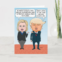 Funny Hillary Clinton and Donald Trump Birthday Card